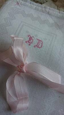 3 SUPERB ANTIQUE FRENCH LINEN HANDKERCHIEFS WITH MONOGRAMS 19th century