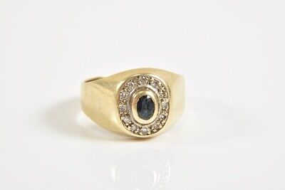 i87w58- 585er/ 14kt Gold Ring Saphir blau u. Diamanten