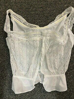 Victorian Camisole w/Lots of Lace & Peplum -S- VG- White - ROMANTIC