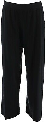 Denim & Co Beach Pull-On Wide Leg Knit Pants Black L # A305631