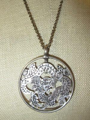 """Handmade Vtg ASIAN CHINESE DRAGON CUTOUT PENDANT 24"""" Silver Chain Dress Necklace"""