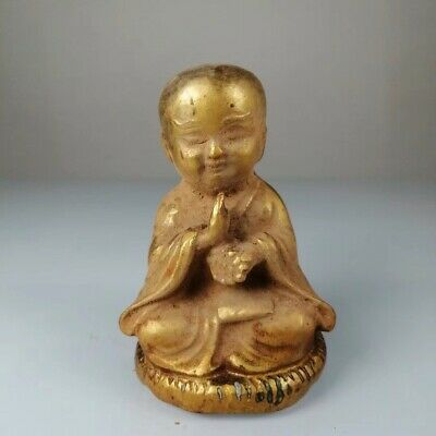 Chinese Qing Dynasty Old copper handmade Gold-plated Boy buddha f19