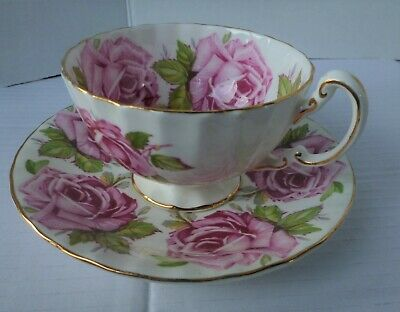 Vintage Rare Aynsley Cabbage Rose Teacup And Saucer
