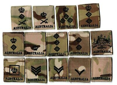 c.2010's era Australian Army Multicam Chest Rank Insignia collection.