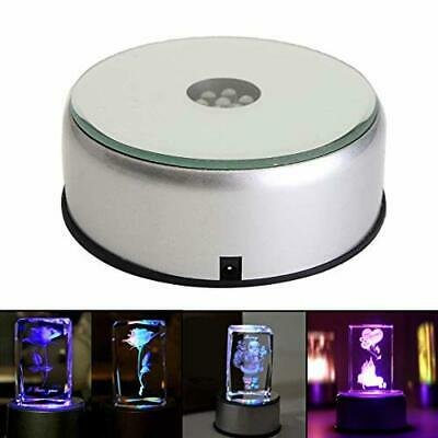 """4"""" Glass Crystal Display Base Stand with Led Rotating Light Color Changing Decor"""