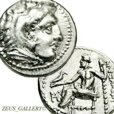 ALEXANDER the Great Lifetime Ancient Greek Silver Drachm Coin AU Herakles Zeus