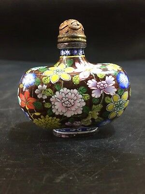 Chinese Antique Cloisonne hand-painted chrysanthemum peony snuff bottle f139