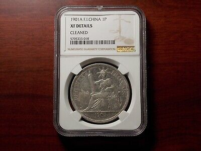 1901 A French Indo-China Piastre silver coin NGC XF
