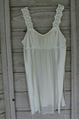 Oscar de la Renta  Pink Label Ivory Satin Negligee Short Lace SMALL Night Gown