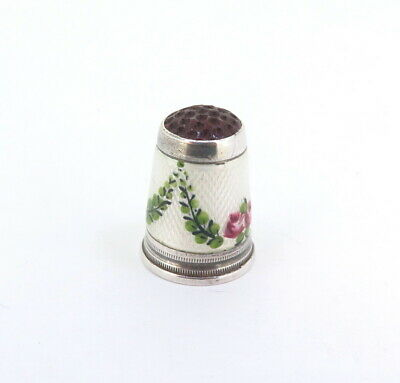 .Vintage German Sterling Silver Thimble with Guilloche Enamel & Red Glass Tip 5g