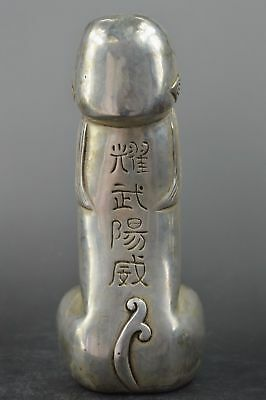 Chinese Tibet silver carved guard Foo Dogs Lion  statues Penis 铜鸡巴  f230