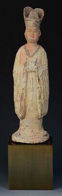 Tang Dynasty, Antique Chinese Painted Pottery Standing Court Man