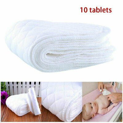 10pcs Reusable Cloth Diapers Cotton Baby Newborn Insert Nappy Liners Washable US