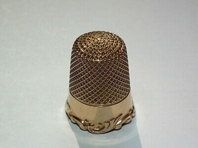 Beautiful Solid 14ct Gold c1890 Simons Brothers Thimble Size 9, Lovely Condition