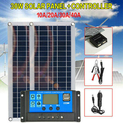 30W 12V Dual USB Flexible Solar Panel Battery Charger Kit Car Boat W// Controller
