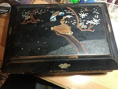 Distressed Lacquered inlaid Japanese Box