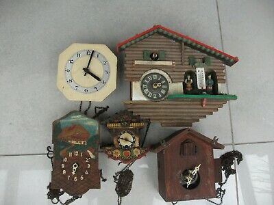 5 Vintage Assorted Chain Driven Clocks for Spares