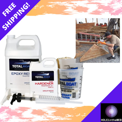 Totalboat 5:1 Epoxy Resin Kits One Quart Marine Grade Fiberglass Boat Repair Kit