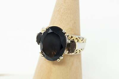 Vintage Smoky Topaz Gold Wash Scroll Swirl Sterling Silver Ring - Size 8