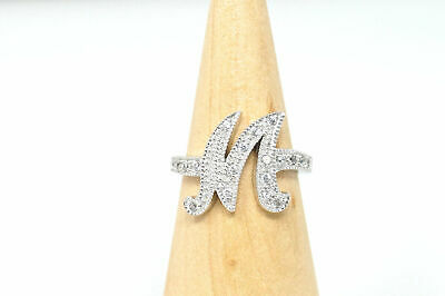 Beautiful Vintage Large M Initial CZ Sterling Silver Statement Ring - Size 8