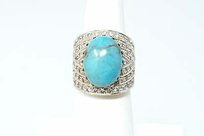 Beautiful Vintage Large Turquoise Cz Gold Vermeil Sterling Silver Ring - Size 6