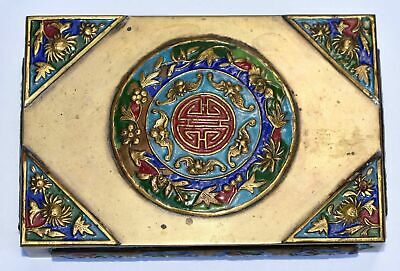 Antique Chinese Enamel Brass Card Box with Bats and Flowers Design