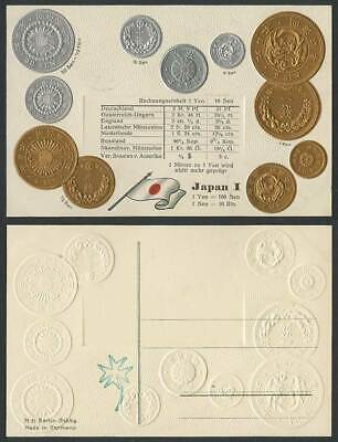 Japan I Coin Card Vintage Meiji Emperor Period Coins Japanese Flag Old Postcard