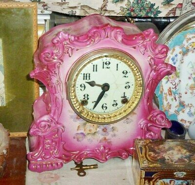 rare pink floral antique mantel clock ansonia usa 1890s restored new spring old