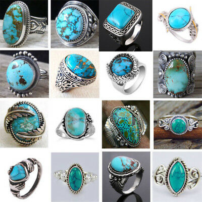Women Men 925 Silver Ring Vintage Turquoise Wedding Engagement Party Size 6-10
