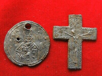Ancient religious pendant and cross  Middle Ages