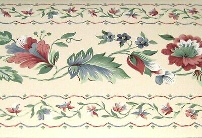 INDES 17.5cm x 5m Wallpaper BORDER Floral Trail Bold Blue Green Purple Brown