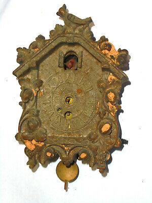 """Antique Mini Cuckoo Clock About 4 1/2"""" Signed LUX For Restoration"""