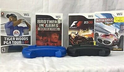 Nintendo Wii games bundle With 2 Steering Wheel Attachments Tiger Woods