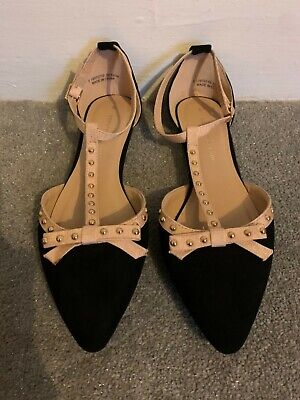 Dorothy Perkins black ladies flat bow shoes size 5 bnwob new 💙💙