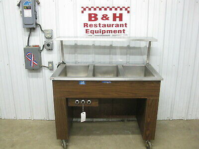 Vollrath 3 Well Steam Table Cabinet Hot Food Bar Buffet Warmer w/ Sneeze Guard