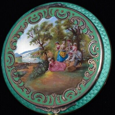 STUNNING! Antique 935 SOLID STERLING ENAMEL GUILLOCHE Hand Painted LARGE Compact