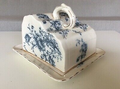 Rare W&R CARLTON WARE 1890's Blue & White POPPY Covered Cheese DISH TRAY ***