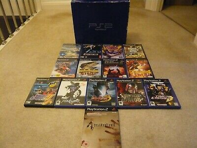 Boxed Ps2 , Playstation 2 With 14 Games Bundle , Pal .....Resident Evil 4 Steel