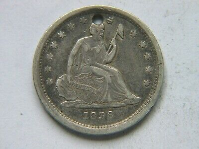 1838 Seated Liberty Quarter Better Date AU Detail