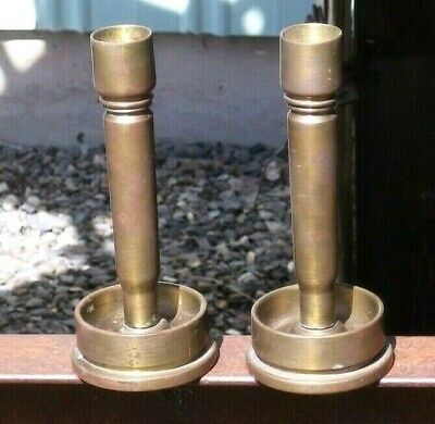 Vintage Solid Brass Trench Art 1940s WWII Candle Holder Candle Stick Pair