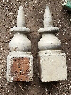Carved finials  repurpose 1880 pine Victorian crusty paint