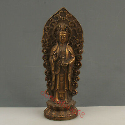 Chinese Exquisite Handmade Guanyin carving copper statue cv54