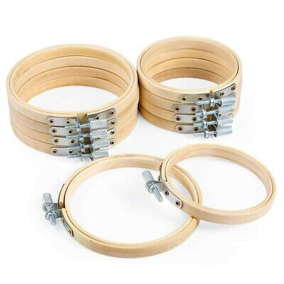 10 Piece 3 Inch And 4 Inch Embroidery Hoops Bamboo Circle Cross Stitch Hoop B8Y1