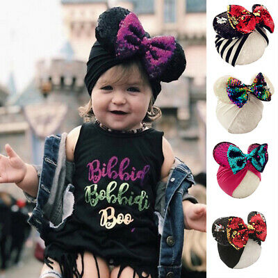 Baby Toddler Girls Knot Turban Head Wrap Hat Stretch India Sequin Bowknot Cap AU