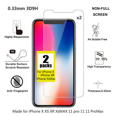 2x 0.33mm 3D 9H Tempered Glass Protector for iPhone X XR XsMax iPhone11 pro max