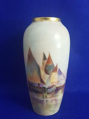 Gorgeous Early 20th Century Limoges Porcelain Vase H/P w French Fishing Boats