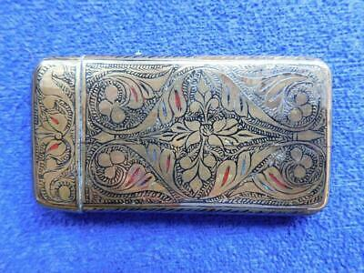C1800s Georgian Victorian Calling Visiting Card Case Engraved & Enameled Brass
