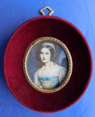 Vintage Hand Painted Miniature Portrait Oil Painting in Red Velvet Frame