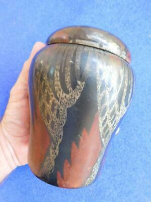 Superb Steel Art Nouveau Canister Tea Caddy Damascene Enamel 1900s