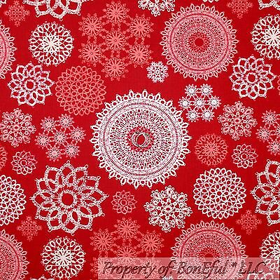BonEful Fabric Cotton Quilt Red White Pink Maroon Snowflake Xmas Lace GIRL SCRAP